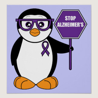 Stop Alzheimer's Disease: Penguin with Sign