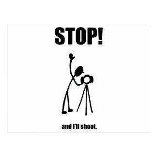 STOP AND I'LL SHOOT Photographer Cartoon Postcard
