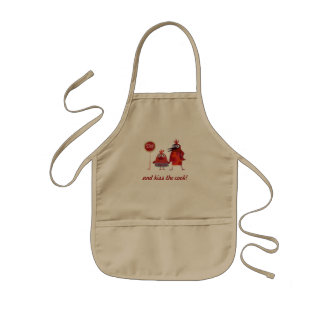 stop and kiss the cook! kids' apron