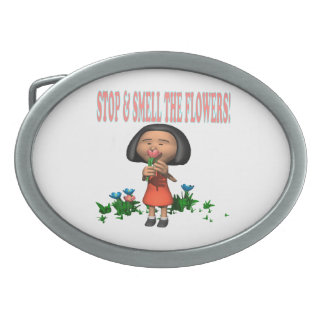 Stop And Smell The Flowers Oval Belt Buckle