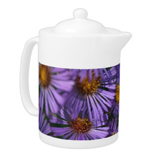Stop and Smell the Flowers Blue Asters Teapot