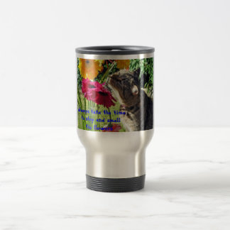 stop and smell the flowers cat travel mug