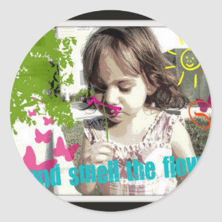 stop and smell the flowers classic round sticker