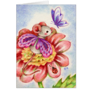 Stop and Smell the Flowers - Fairy Mouse Art Card Greeting Card