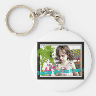 stop and smell the flowers key chain