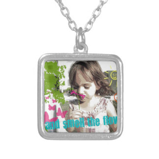 stop and smell the flowers personalized necklace
