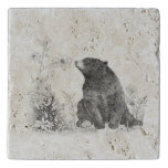 Stop and Smell the Flowers Travertine Trivet