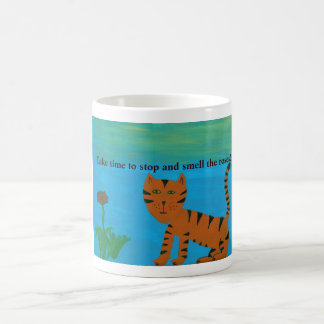 Stop and Smell The Roses Folk Cat Painting Design Coffee Mug