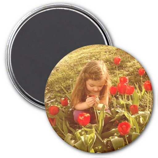 stop and smell the tulips round magnet