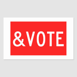 STOP AND VOTE RECTANGULAR STICKER