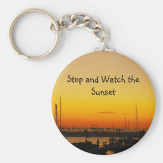 Stop and Watch The Sunset Basic Round Button Keychain