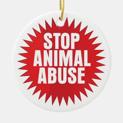 Stop Animal Abuse Christmas Tree Ornaments