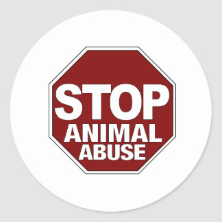 Stop Animal Abuse Classic Round Sticker