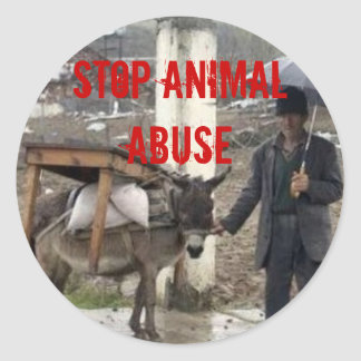 Stop Animal Abuse Classic Round Sticker