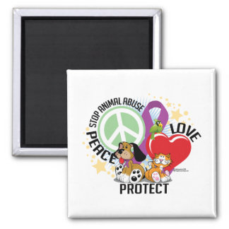 Stop Animal Abuse PLP 2 Inch Square Magnet
