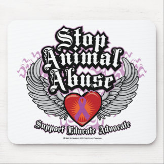 Stop Animal Abuse Wings Mouse Pad
