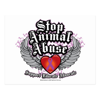 Stop Animal Abuse Wings Postcard