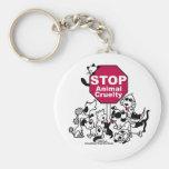 Stop Animal Cruelty Basic Round Button Keychain