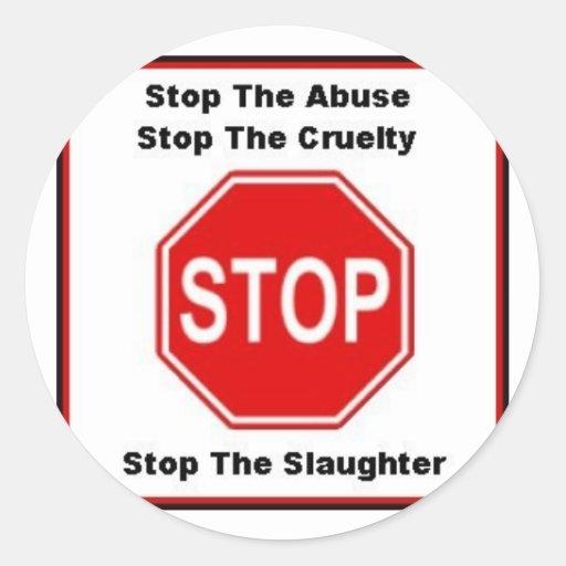 stop animal cruelty round sticker
