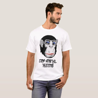 """""""STOP ANIMAL TESTING"""" Animal lovers Eco Monkey Tee"""