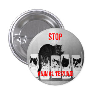 STOP Animal Testing Cats button pin