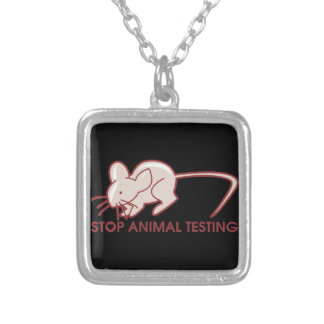 Stop Animal Testing Square Pendant Necklace