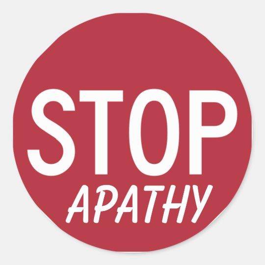 STOP APATHY CLASSIC ROUND STICKER