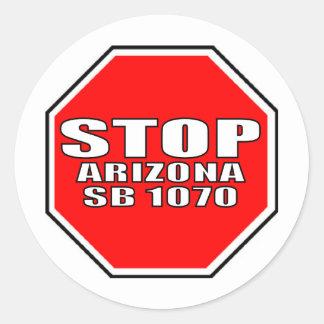 STOP ARIZONA SB 1070 CLASSIC ROUND STICKER