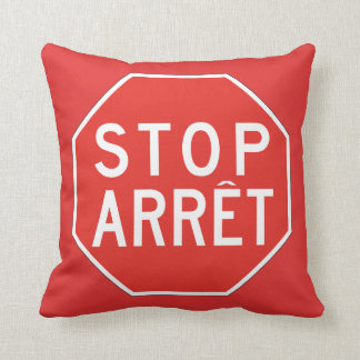 Stop/Arret, Traffic Sign, Canada Throw Pillow