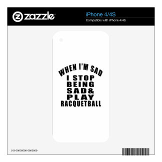 STOP BEING SAD PLAY RACQUETBALL DECAL FOR THE iPhone 4S