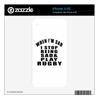 STOP BEING SAD PLAY RUGBY DECALS FOR iPhone 4