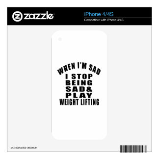 STOP BEING SAD PLAY WEIGHT LIFTING iPhone 4S SKINS