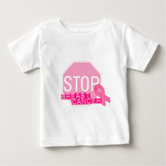 STOP BREAST CANCER Pink Ribbon Stop Sign Baby T-Shirt