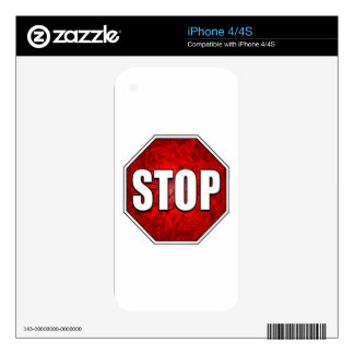 STOP! Bright Bold Red Stop Sign Zen Art/Design Decals For iPhone 4S