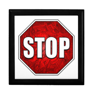 STOP! Bright Bold Red Stop Sign Zen Art/Design Jewelry Box