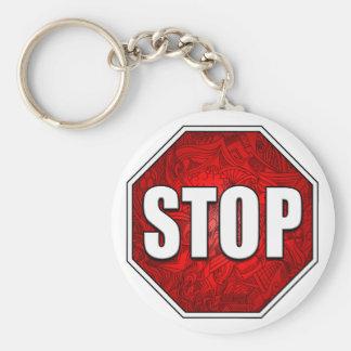 STOP! Bright Bold Red Stop Sign Zen Art/Design Keychain
