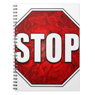 STOP! Bright Bold Red Stop Sign Zen Art/Design Notebook