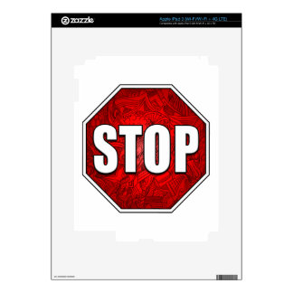 STOP! Bright Bold Red Stop Sign Zen Art/Design Skin For iPad 3