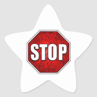 STOP! Bright Bold Red Stop Sign Zen Art/Design Star Sticker