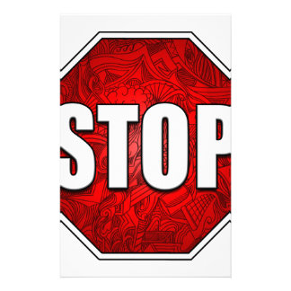 STOP! Bright Bold Red Stop Sign Zen Art/Design Stationery