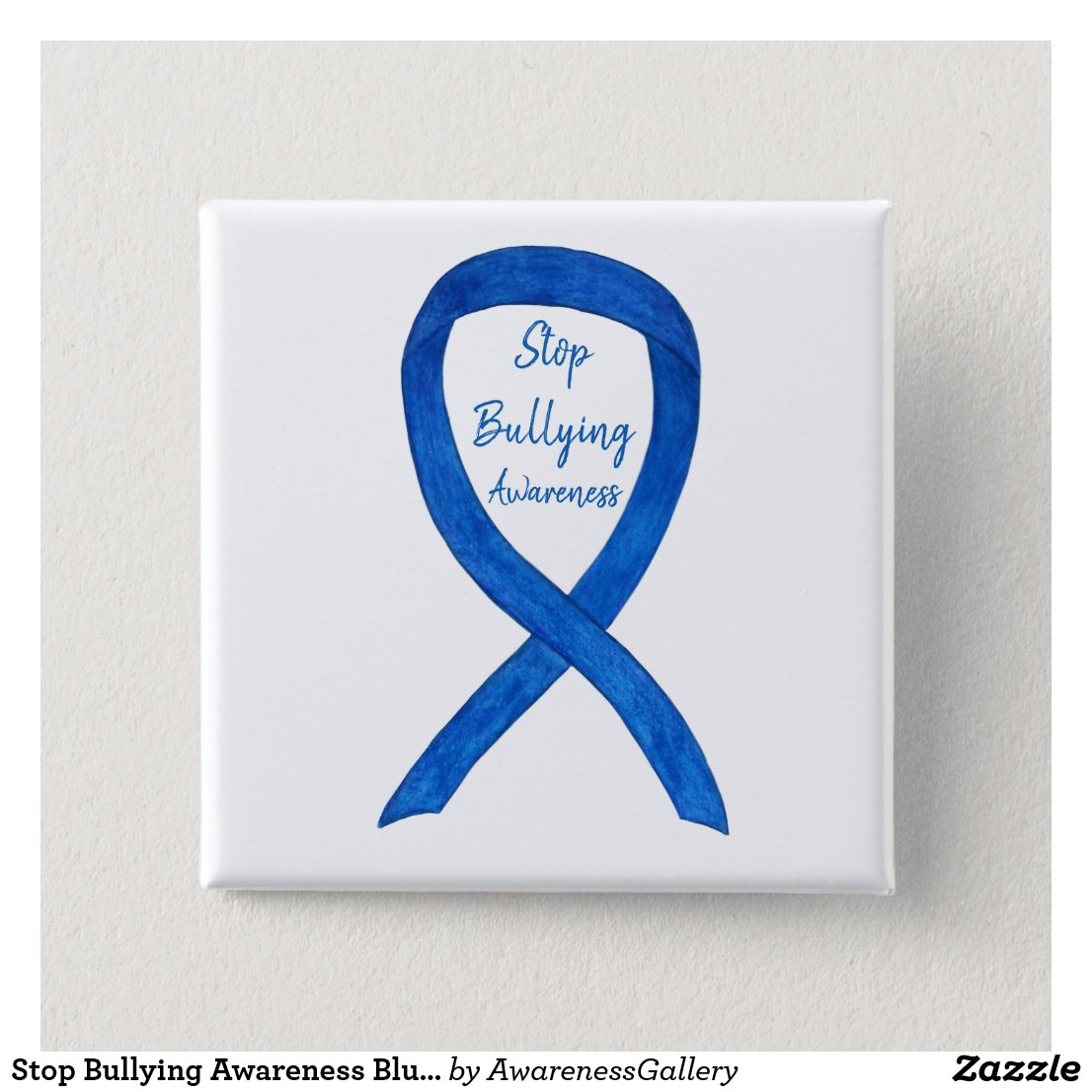 Stop Bullying Awareness Blue Ribbon Custom Pin