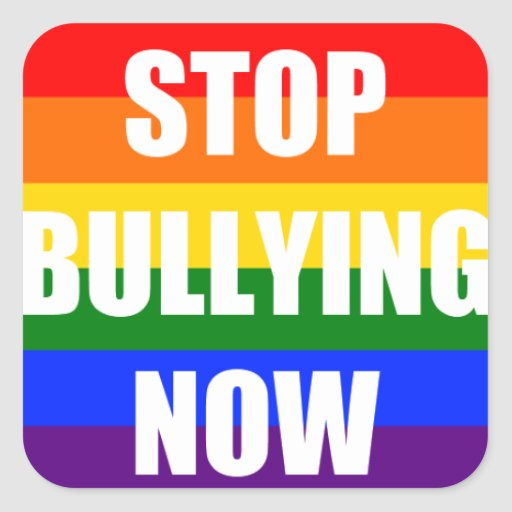 Stop bullying now rainbow square sticker zazzle