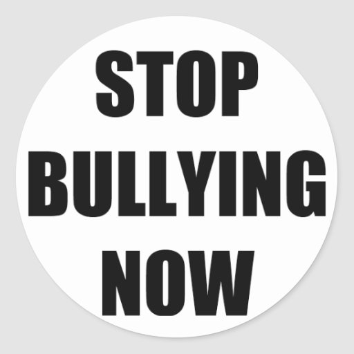 Stop bullying now round stickers
