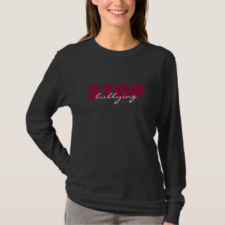 Stop Bullying Pink Simple Black Long Sleeve Shirt