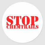 Stop Chemtrails - Adesivo Redondo Pegatina Redonda