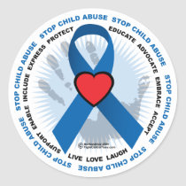 Stop Child Abuse Ribbon Classic Round Sticker