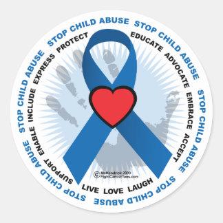Stop Child Abuse Ribbon Classic Round Sticker