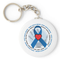 Stop Child Abuse Ribbon Keychain
