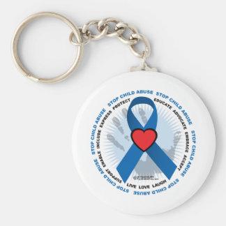 Stop Child Abuse Ribbon Keychain