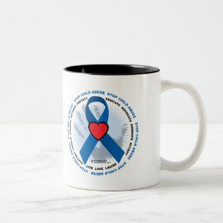 Stop Child Abuse Ribbon Two-Tone Coffee Mug